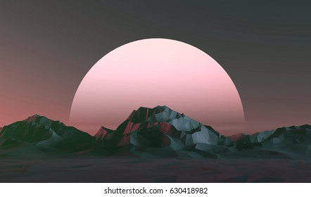 3D illustration - Low poly mountains landscape at sunset