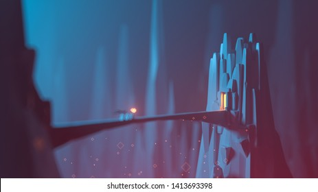 3d illustration of low poly mystical bridge to a tower. Adventurers with a torch and a flag go to the temple. Crypt of the dead. Temple in rocky mountain. Stylized art with bokeh effect. Game location