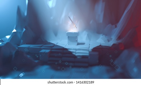3d illustration of low poly mystical cave with a floating heroic sword over a pedestal. Legendary weapons for a brave knight in a rocky game location. Adventurer loot. Stylized art with bokeh effect.