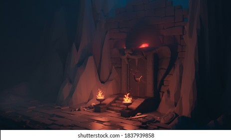 3d illustration of low poly mystical cave. Above the gate is stone sculpture of head of cobra with glowing red eyes. Burning torches on the sides of the stairs. Skulls, swords, shields lie on ground.
