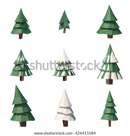 3d illustration low poly tree pine isolated - Polytree Christmas Tree