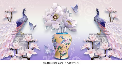 3d illustration of luxurious vase and peacock