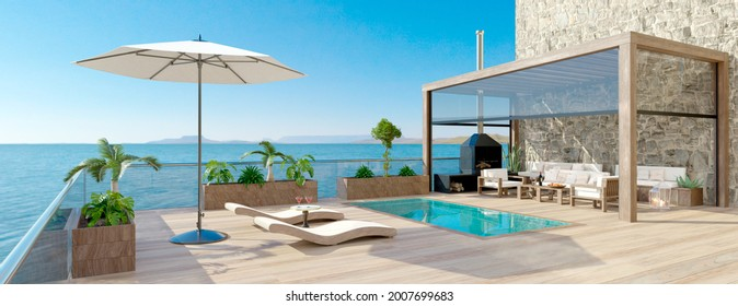 3D illustration of luxury contemporary outdoor wooden patio with swimming pool and sea view. Deck chairs with umbrella and fruit cocktails next to pool. Bio climatic pergola and teak wood flooring.