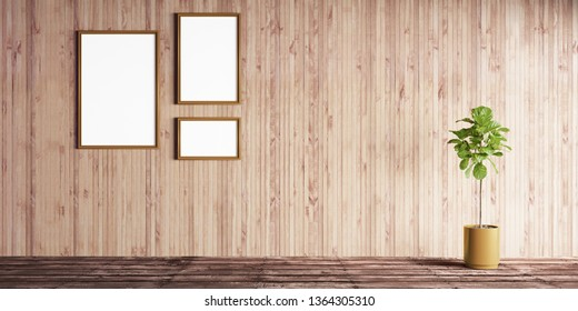 3d illustration of luxury interior room on sunny day. Living room with wooden paneling, hardwood floor and home tree of ficus lyrata. Poster mockup in golden frames. Luxury millwork for apartments.