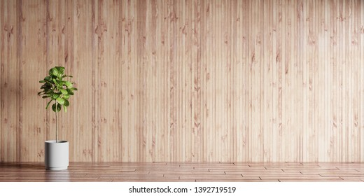 3d illustration of luxury interior room on sunny day. Living room with wooden paneling, hardwood floor and home tree of ficus lyrata. Luxury millwork for apartments.