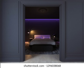 3D illustration luxury minimal black bedroom with wood floor and purple light