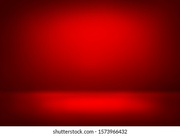 3D Illustration. Luxury Red christmas studio gradient background for product placement or website. Copy Space, horizontal composition.