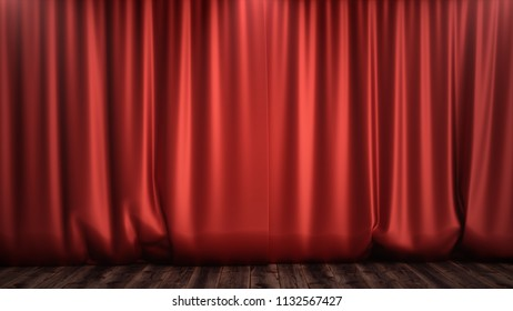 3D illustration luxury red silk velvet curtains decoration design, ideas. Red Stage Curtain for theater or opera scene backdrop. Mock-up for your design project