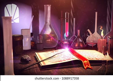 3d Illustration of Magic book, Magic wand and Philosopher's Stone