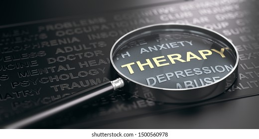 3D illustration of a magnifier over mental health disorder words with focus on the word therapy. Black background.