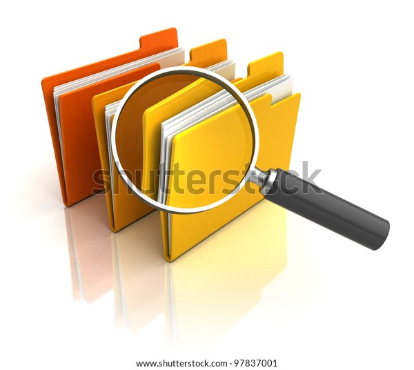 3d illustration of magnify glass and folders over white background