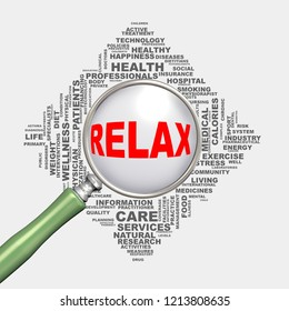 3d illustration of magnifying glass magnifier over health care wordcloud tags showing concept of relax