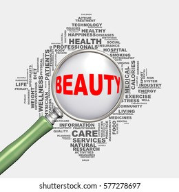3d illustration of magnifying glass magnifier over health care wordcloud tags showing concept of beauty