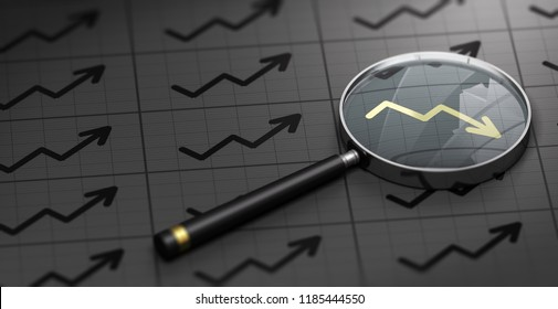 3D illustration of a magnifying glass over black background and golden decreasing chart symbol. Concept of brokerage.