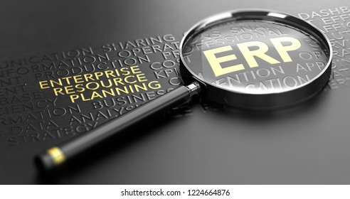 3D illustration of a magnifying glass over black background and focus on the golden acronym ERP. Enterprise Resource Planning Concept
