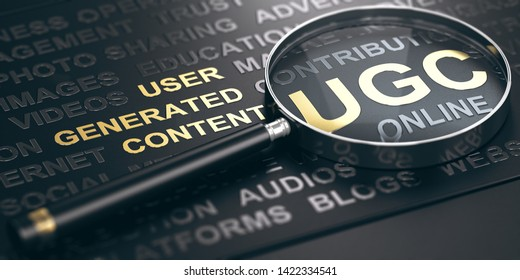 3D illustration of a magnifying glass over black background with the Acronym UGC (User Generated Content). Online Marketing concept.