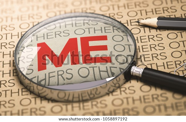 3D illustration of a magnifying glass over a paper bakground with focus on the word me. Concept of egocentrism