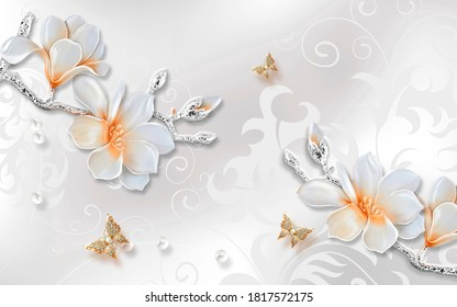 3d illustration of magnolia flowers and butterflies. Luxury ornamental wallpaper