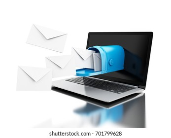 3d illustration. Mail delivery from computer laptop. Incoming mail concept. Isolated white background