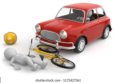 3D illustration of male bicycle accident
