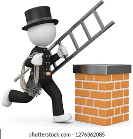3D illustration of a male as a chimney sweeper