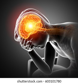 3d Illustration of Male Feeling Headache