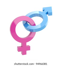 3d illustration of Male and female signs on white background