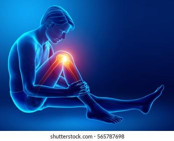 3d Illustration of Male Knee pain