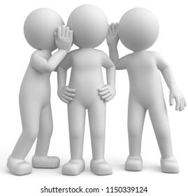 3d illustration Male spreading rumors