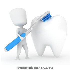 3D Illustration of a Man Brushing a Tooth