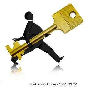 3d illustration - a man carries a golden key or hands over a key - a symbol or a logo