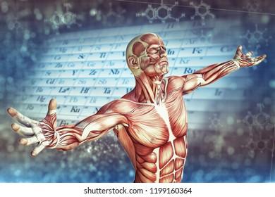 3D illustration of man and chemical formula DNA
