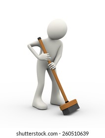 3d illustration of man cleaning with cleaning broom stick brush. 3d human person character and white people