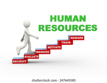 3d illustration of man climbing human resources word text steps concept. 3d human person character and white people