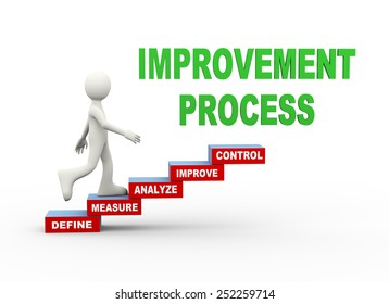 3d illustration of man climbing improvement process word text steps concept. 3d human person character and white people