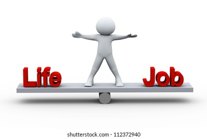 3d Illustration of man - conept of balance in life and work. 3d rendering of human character.