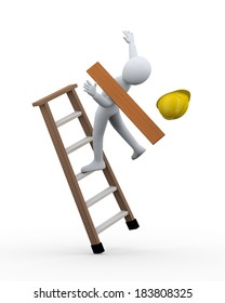 3d illustration of man construction worker disbalance and fall from ladder. 3d rendering of human people character incident