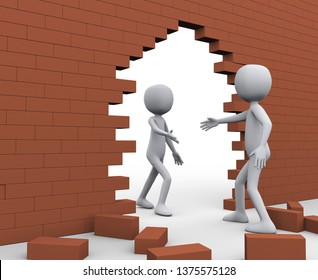 3d illustration of man friend after breaking bricks wall help another person for escape. 3d rendering of human character