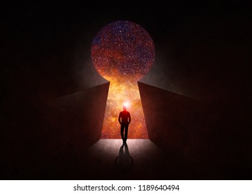 3d illustration. Man in front of open door with universe behind