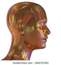 3d illustration of man iron head silhouette stylized golden colorful reflections. Human profile science fiction creativity concept