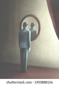 3D Illustration des Menschen, der sich in einem mysteriösen Spiegel, surrealen Konzept reflektiert