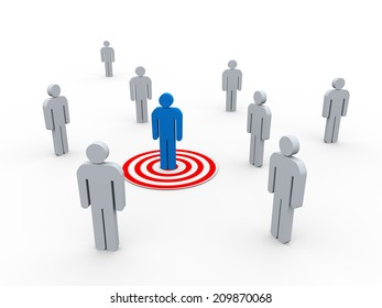 3d illustration of man on target from group of people. concept of targeting buyer