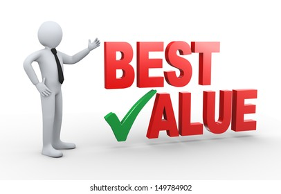 3d illustration of man presenting best value having right check mark.  3d rendering of human people character.