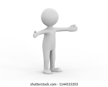 3D illustration man presenting your product hands to the side on a white background with shadow