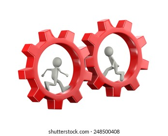 3d illustration of man running inside rotating red big chrome metallic gear cog wheel. 3d human person character and white people