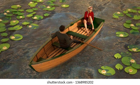 A 3d illustration of a man in a skiff rowing among a group of lily pads while a woman relaxes at the stern.