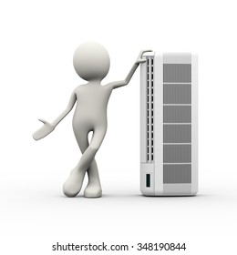 3d illustration of man standing with large air conditioner split unit. 3d human person character and white peopl