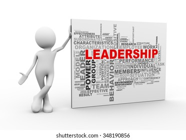 3d illustration of man standing with leadership wordcloud word tags. 3d human person character and white people