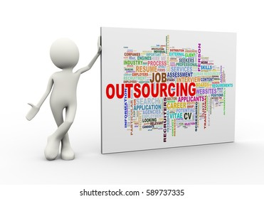 3d illustration of man standing with outsourcing wordcloud word tags. 3d human person character and white people.