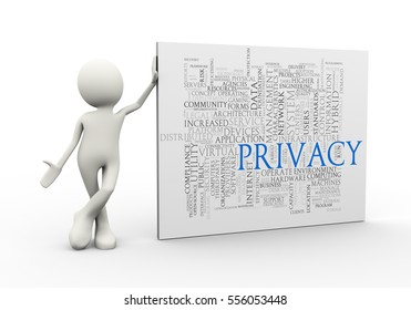 3d illustration of man standing with privacy wordcloud word tags. 3d human person character and white people